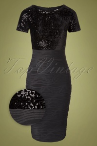 50s Bionda Sequins Pencil Dress in Black