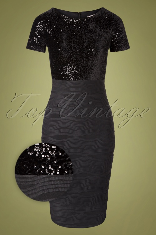Vintage Chic 31541 Pencildress Black Sequin Glitter 09302019 003Z