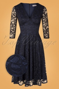 Vintage Chic 32534 Swingdress Navy Lace 09302019 001Z