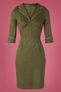 Vixen 40s Martha Pencil Dress in Olive