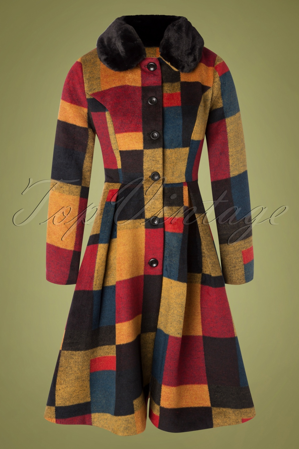 Vintage Coats & Jackets   Retro Coats and Jackets 50s Blaire Patchwork Coat in Yellow and Red £129.17 AT vintagedancer.com