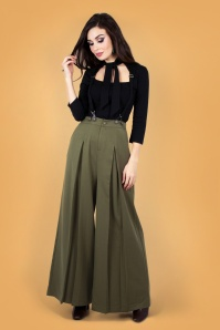 Vixen 30928 Martha Wide Leg Suspender Trouser in Khaki 20190528 020LW