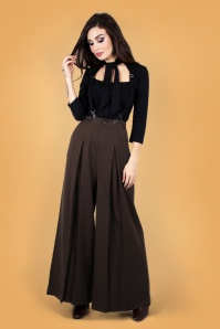 Vixen 30929 Rebecca Wide Leg Suspender Trouser Brown 20190528 020LW