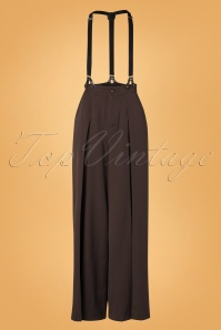 Vixen 30929 Rebecca Wide Leg Suspender Trouser Brown 10012019 002W