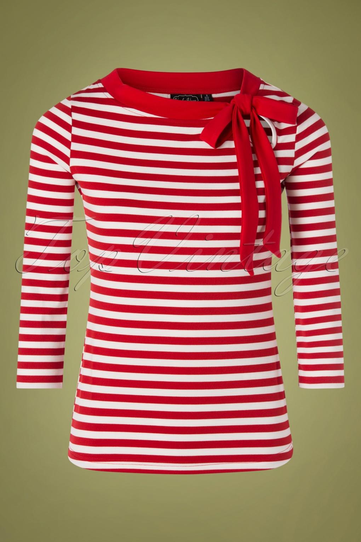 Sidney Striped Tie Neck Top Années 50 en Rouge