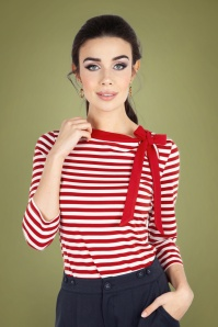 Vixen 30921 Sidney Striped Neck Tie Top in Red 20190528 020LW