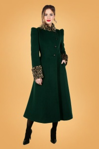 50s Natasha Faux Fur Leopard Trim Coat in Green