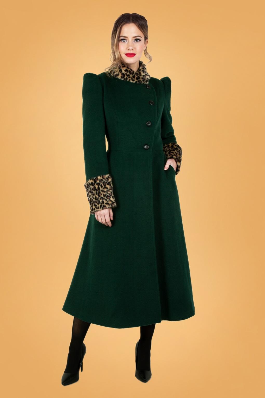 Vintage Coats & Jackets   Retro Coats and Jackets 50s Natasha Faux Fur Leopard Trim Coat in Green £124.04 AT vintagedancer.com