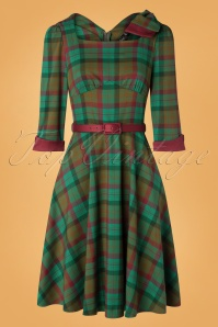 40s Lisle Forest Tartan Swing Dress in Green