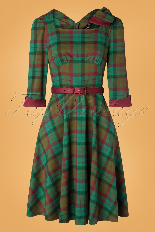 1940s Dresses and Clothing UK | 40s Shoes UK 40s Lisle Forest Tartan Swing Dress in Green £57.29 AT vintagedancer.com