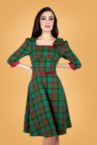 Vixen 30897 Lisle Forest Tartan Flare Dress in Green 20190528 020L