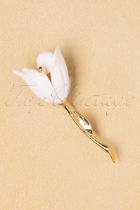 50s Dodo Flower Brooch in Gold and White