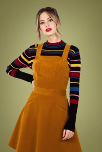 Vixen 30888 Katie Corduroy Overall Dress in Mustard 20190528 020L copy