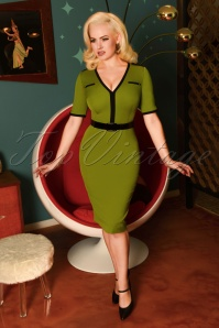 Demi Pencil Dress Années 50 en Vert