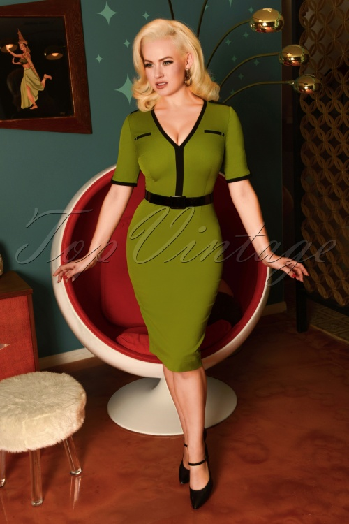 Glamour Bunny 29261 Demi Pencil Dress Green 20190113 007W