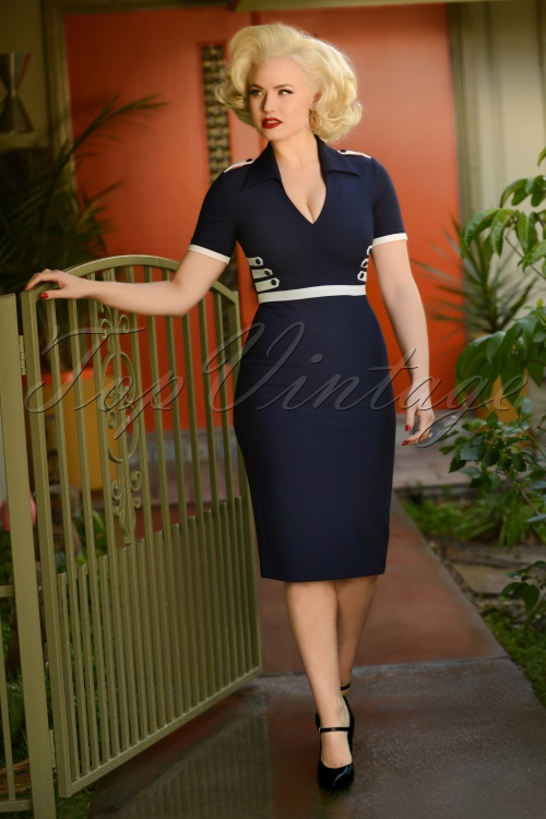 Glamour Bunny 29269 Jennifer 'Pencil Dress in Blue 20190328 7313W