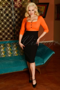 Glamour Bunny 29272 Nova Pencil Dress in Orange 20190328 8388W