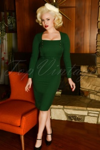 Glamour Bunny 29287 Raven Pencil Dress in Green 20190408 7338W