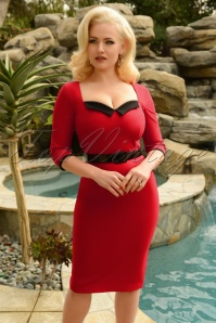 50s Harley Pencil Dress in Red