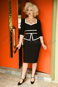 50s Charlotte Pencil Dress in Black