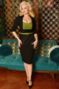 50s Laura Pencil Dress in Black and Green