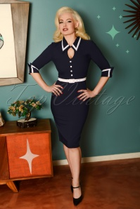 Glamour Bunny 60s Gina Pencil Dress in Navy