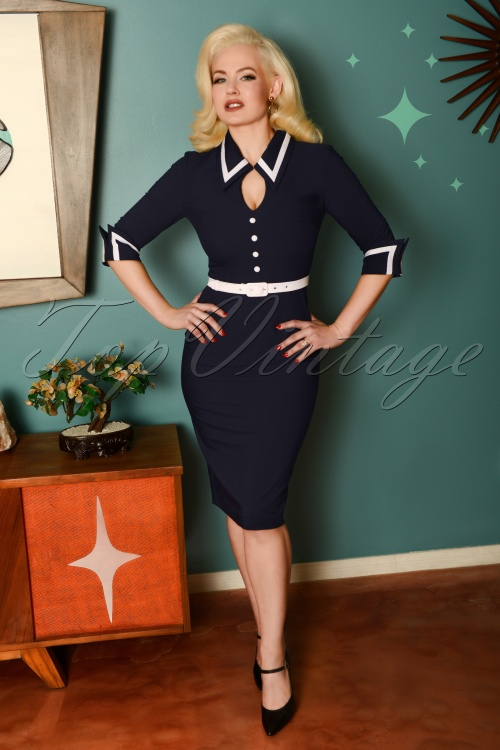 Glamour Bunny 29263 Gina Pencil Dress in Blue 20190408 8582W