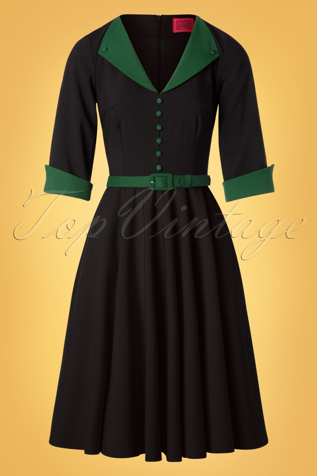 Pin Up Dresses | Pinup Clothing & Fashion 50s Sarai Swing Dress in Black and Green £106.92 AT vintagedancer.com