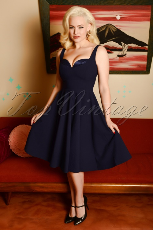 Glamour Bunny 29292 Madison Swing Dress in Blue 20190410 8096W