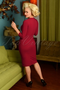 Glamour Bunny 29270 Selena Pencil Dress in Bordeaux 20190408 6983 AmendW