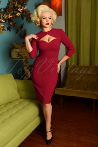 Glamour Bunny 29270 Selena Pencil Dress in Bordeaux 20190408 6977W