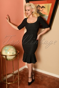 50s Wendy Pencil Dress in Black Glitter