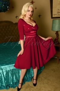 50s Aline Swing Dress in Bordeaux