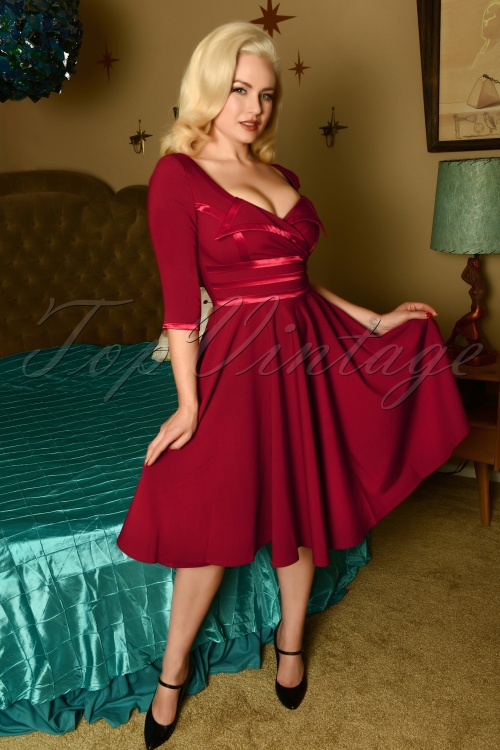 Glamour Bunny 29296 Aline Swing Dress in Bordeaux 20190410 8509W