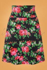 Tante Betsy 60s Bouquet Skirt in Black