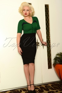 50s Lacey Pencil Dress in Black and Green