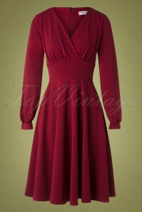 Vintage Chic 31812 Swingdress Wine Red 10022019 002W