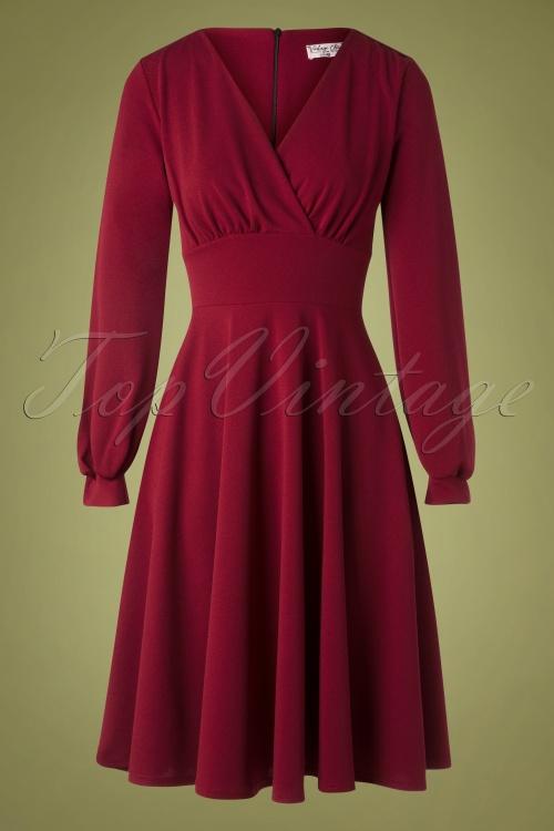 Vintage Chic 31812 Swingdress Wine Red 10022019 002W