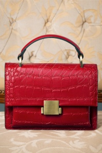 40s Modern Retold Crocodile Satchel Bag in Red