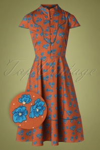 Vixen 30881 Swingdress Ada Button Floral Brown 10012019 002Z