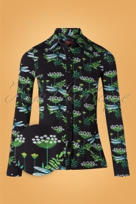 60s Dragonfly Button Blouse in Black