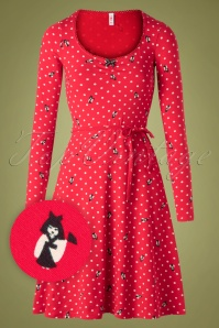60s Happy Folks Joy Dress in Gracious Geishas Red