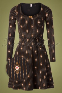 60s Happy Folks Joy Dress in Majestic Medallion Black