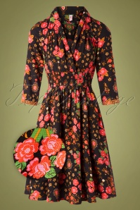 Blutsgeschwister 29760 Swingdress Crowned Heart Floral Black 10022019 001Z