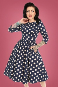 Hearts & Roses 50s Milana Polkadot Swing Dress in Navy and Cream
