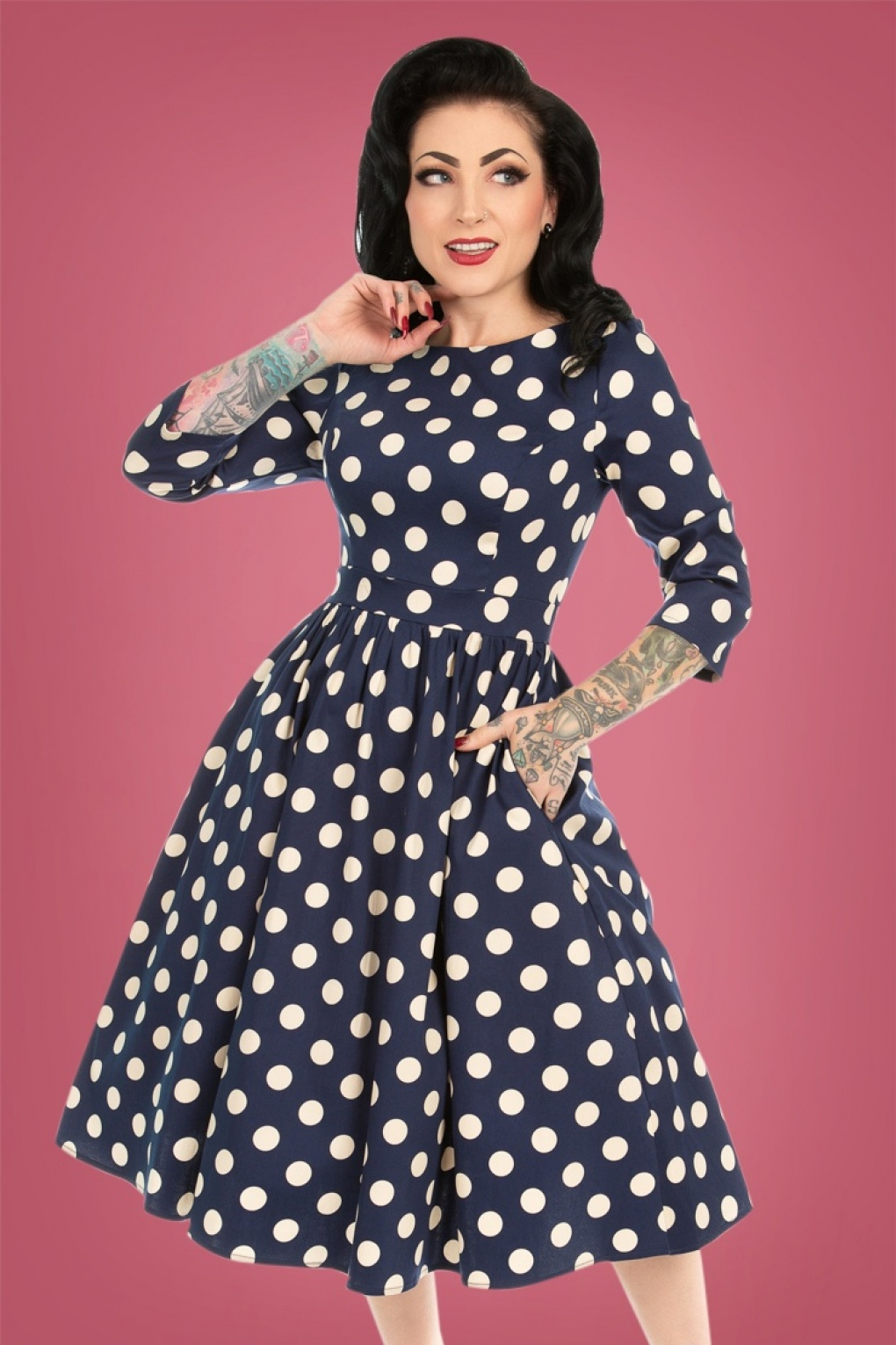 Vintage Polka Dot Dresses – 50s Spotty and Ditsy Prints 50s Milana Polkadot Swing Dress in Navy and Cream £48.45 AT vintagedancer.com