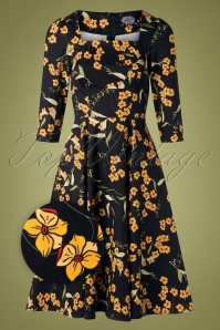 Hearts And Roses 31129 Swingdress Navy Floral Yellow 10022019 003Z