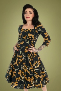 Hearts and Roses 31129 Navy Swing Dress Yellow Flowers 20191001 020LW