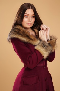 Collectif 29898 Berenice Plain Faux Fur Coat in Burgundy 022L