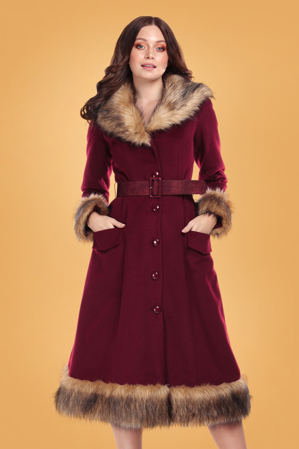 1940s Coats & Jackets Fashion History 50s Berenice Faux Fur Swing Coat in Burgundy £201.57 AT vintagedancer.com